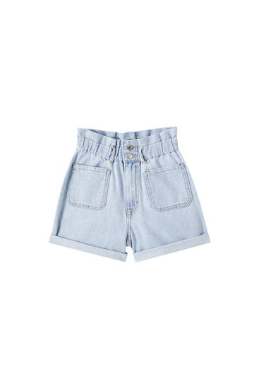 Denim Bermuda shorts with elasticated waistband