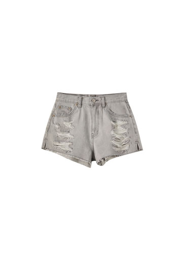 Ripped grey mom shorts