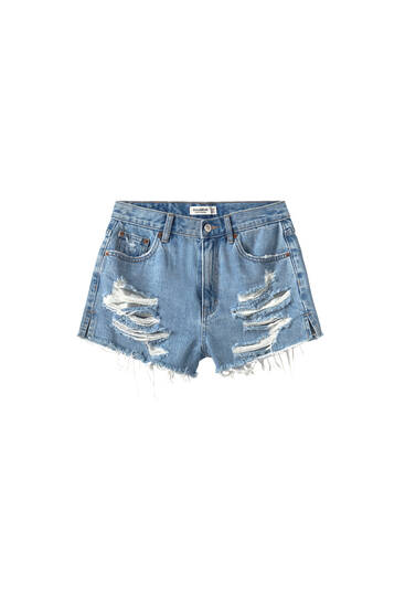 Short mom fit larges déchirures