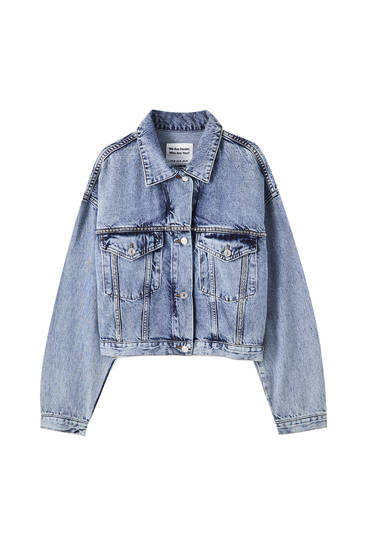 Blue denim jacket with shimmer detail