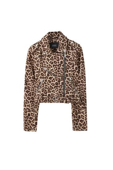 Faux suede leopard print biker jacket