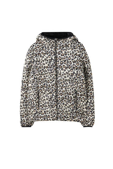Leopard-print quilted jacket