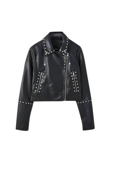 Biker jacket with faux pearl detail