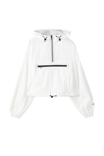 Short nylon anorak jacket