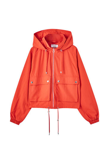 Short colourful nylon jacket