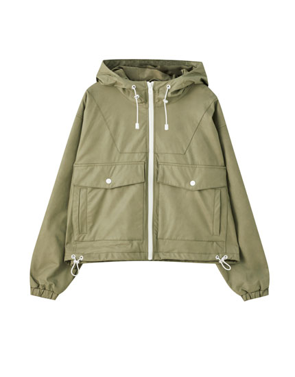 Khaki raincoat with pockets