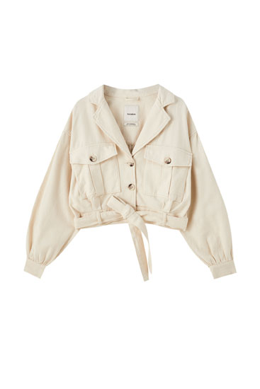 Beige jacket with full sleeves