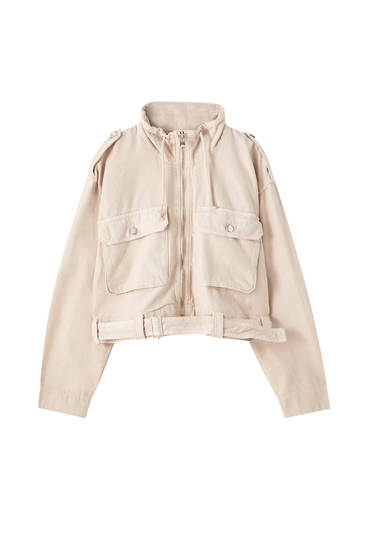 Belted jacket with flap pockets