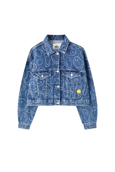 Oversized blue Smiley denim jacket
