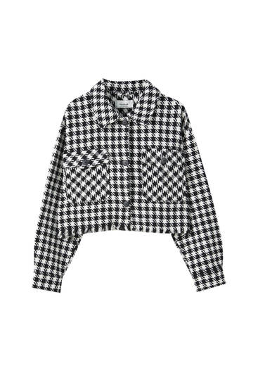 Cropped overshirt with check print