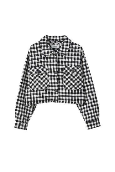 Camisa comprida cropped aos quadrados