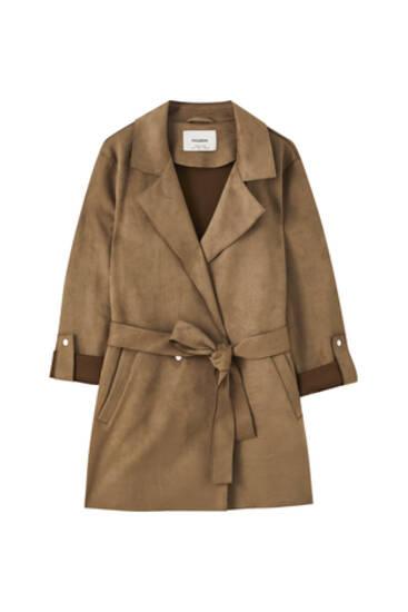 Mantel aus Wildlederimitat mit Gürtel