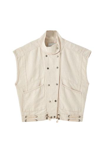 Bēša 'oversize' stila veste ar pogu aizdari