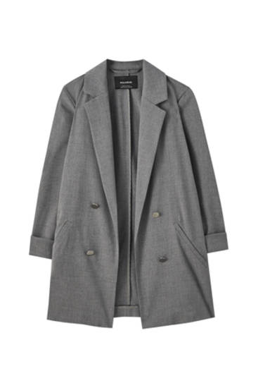 Grey blazer with false buttons