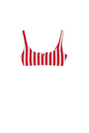 Bikinioberteil mit roten Streifen