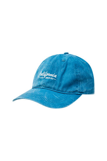 "Turquoise cap with ""California"" embroidered on the front"