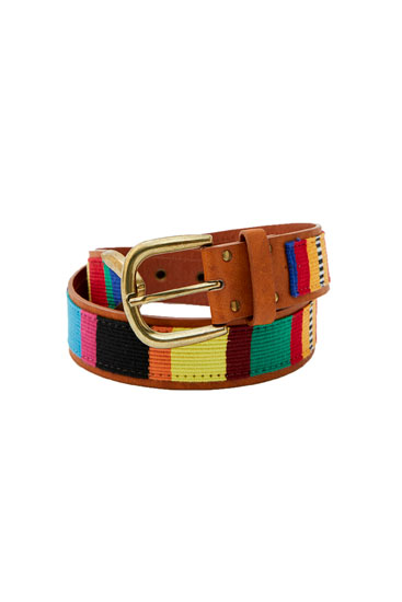 Brown belt with a multicoloured print