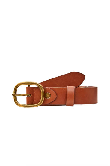 Extra-wide brown faux leather belt