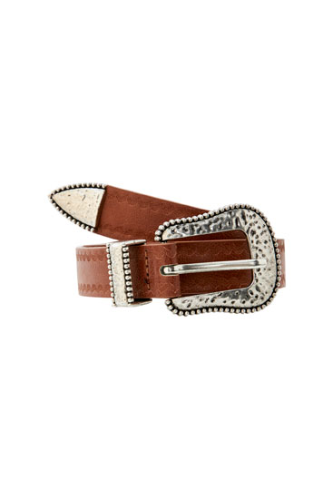 Embossed brown faux leather belt