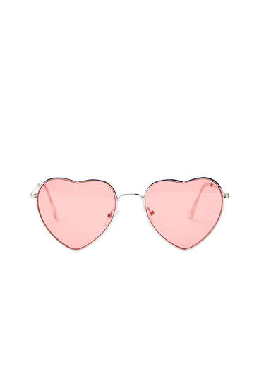Heart-shaped sunglasses with pink lenses