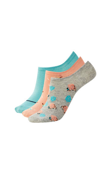 Pack of no-show socks with ice cream print