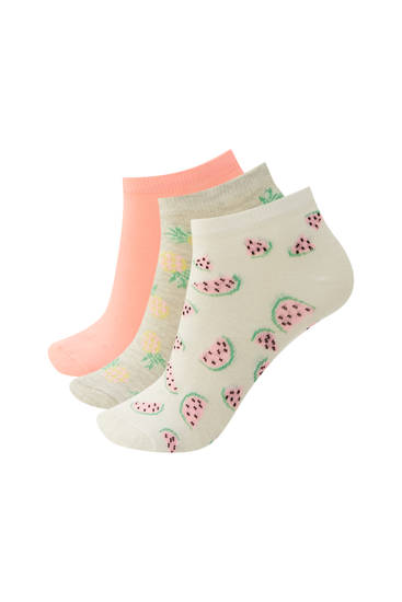 Pack of fruit print ankle socks