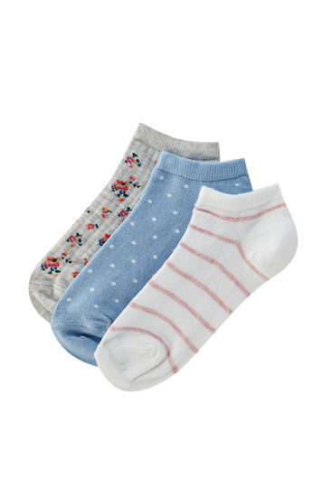 Pack of floral print ankle socks with polka dots