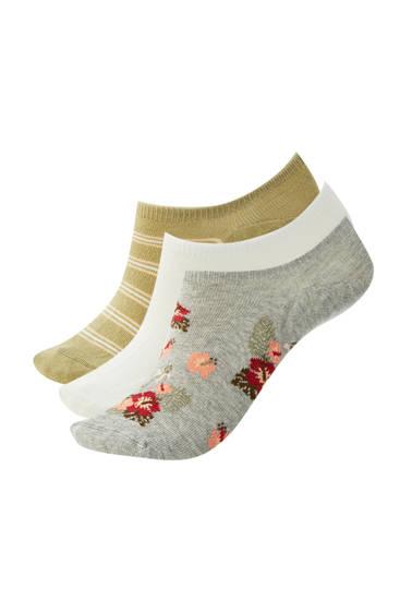 Pacco di calzini alla caviglia con stampa floreale