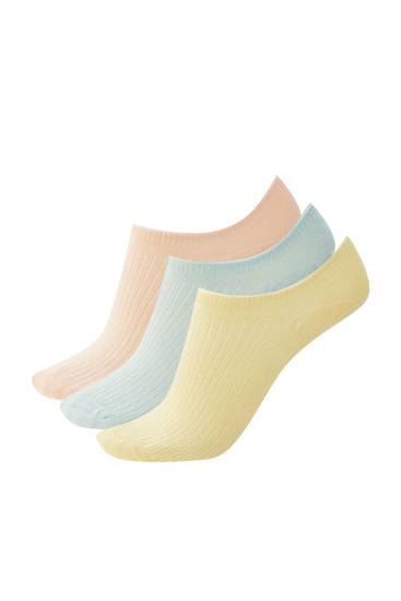 Pack of ribbed ankle socks in pastel colours
