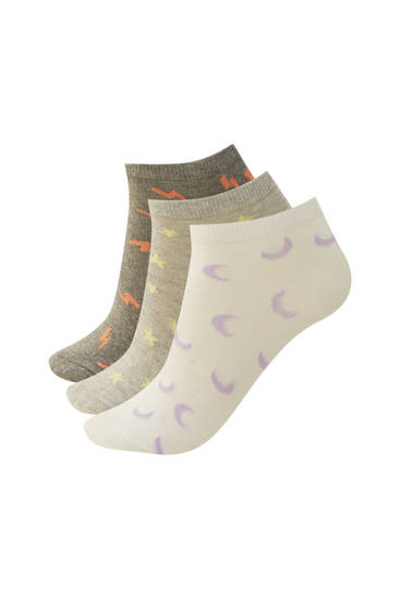 Pack of lightning bolt print ankle socks