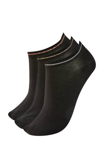 Pack of contrast black ankle socks