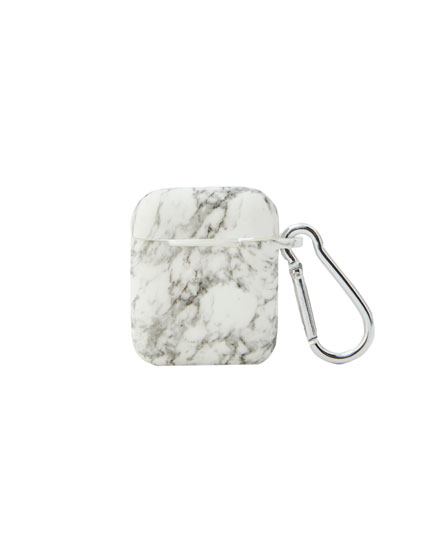 Marble-effect silicon airpods case