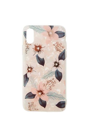 Pink floral print smartphone case