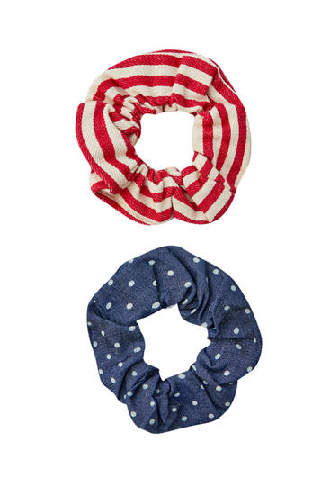 Pack of striped and polka dot scrunchies