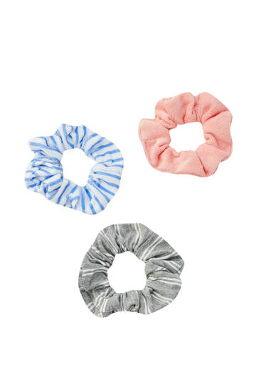 3-pack of plain and striped scrunchies