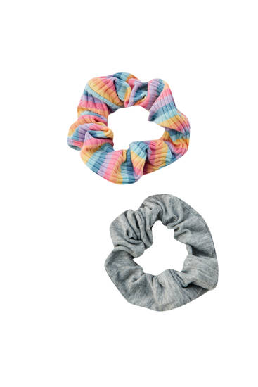 Pack of multicoloured scrunchies