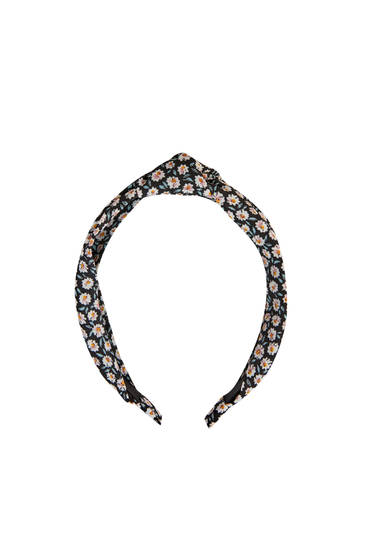 Black daisy headband with knot