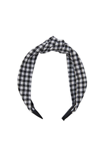 Gingham check knotted hairband