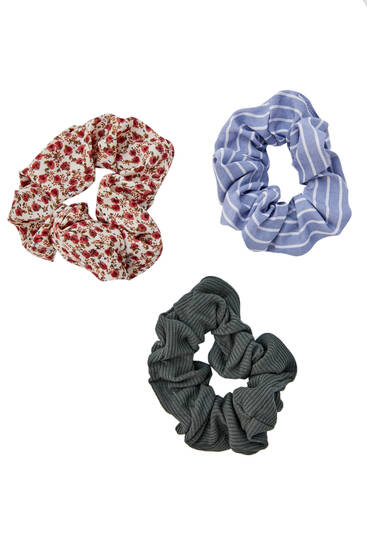 3-pack of striped and roses scrunchies