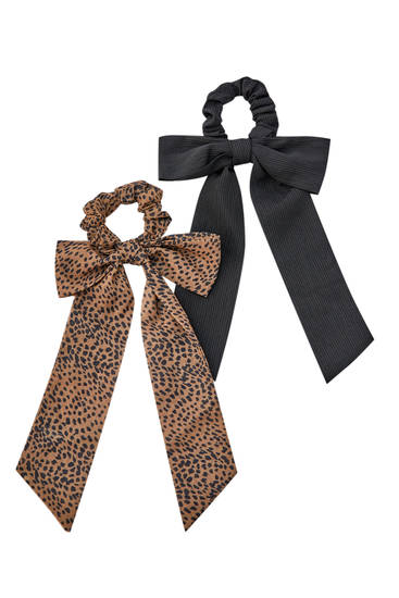 Pack of animal print bow scrunchies
