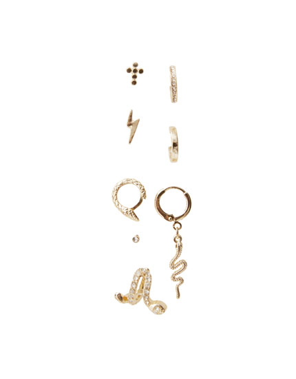 Lot de 8 boucles d'oreilles ear-cuff