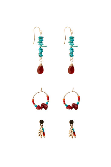 Pack of multicoloured stone earrings