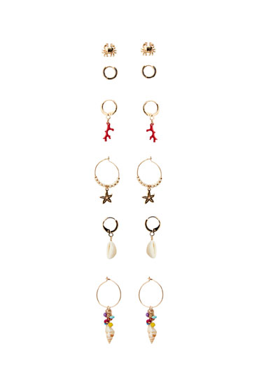 Lot boucles d'oreilles charms coquillage