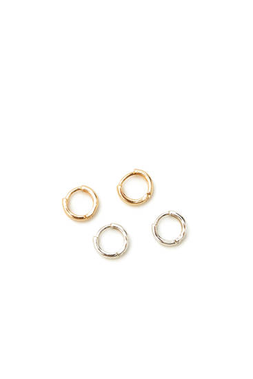 Pack of basic metallic hoop earrings