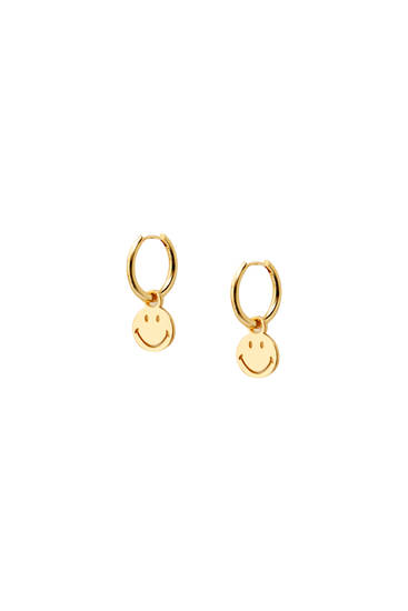 Gold-plated Smiley earrings