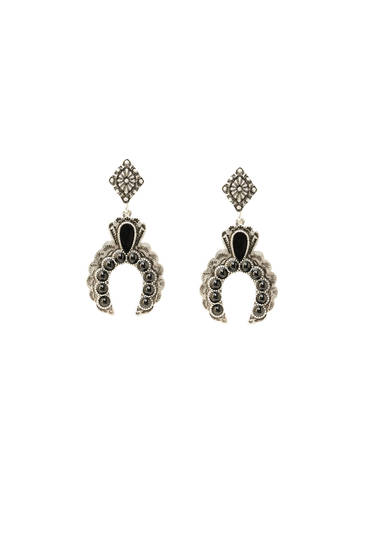Silver-finish horseshoe earrings