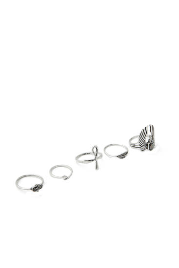 Pack of silver-coloured eagle rings