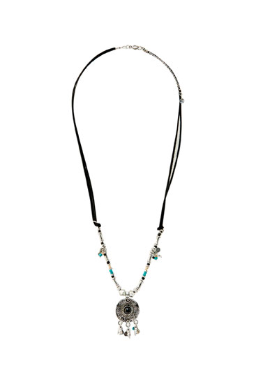 Black chain necklace with medallion