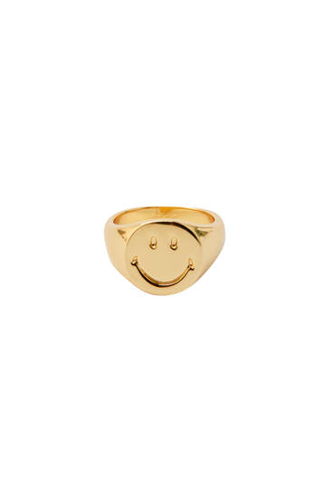 Gold-plated Smiley signet ring