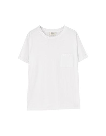 Camiseta básica manga remangada